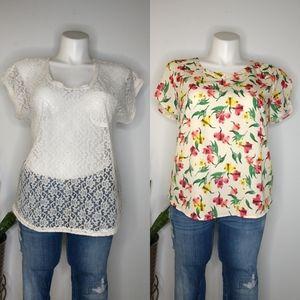 Bundle of Merona floral and Sanctuary lace tops XL